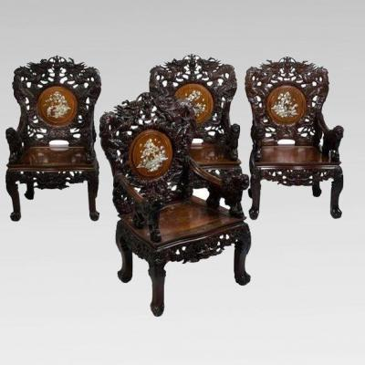 Set Of Four Armchairs In Carved Wood Inlaid With Mother Of Pearl, Indochina Circa 1880/1900