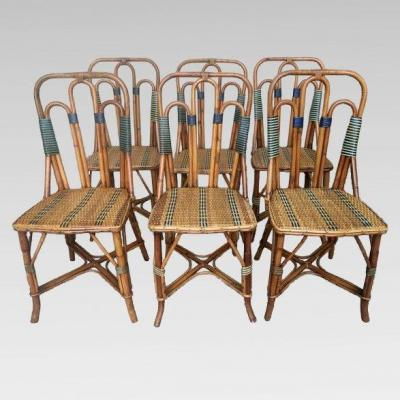 Six Rattan And Bamboo Chairs. Maison M. Murard In Lyon, Around 1930