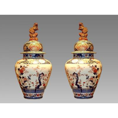 Pair Of Vases Covered Porcelain Samson