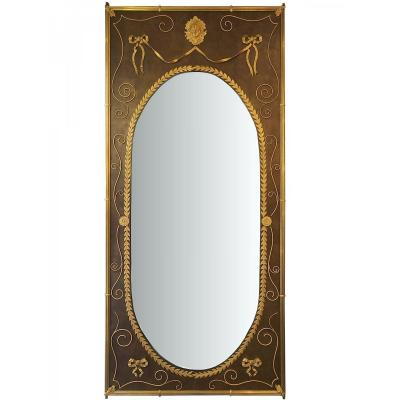 Important And Rare Mirror Of Boiserie De Syle Louis XVI, Around 1880