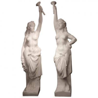 Two Monumental Nymphs In Plaster, France Circa 1940