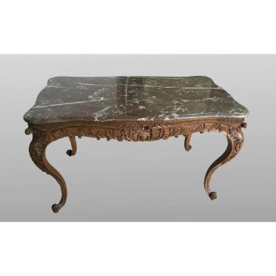 Carved Wood Center Table With Marble Top, France Eighteenth Century
