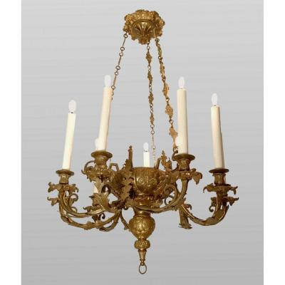 Napoleon III Chandelier In Bronze With Six Arms Of Light