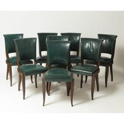 Set Of Eight Mahogany Chairs, In The Style Of Maxime Old, France 1940/1950