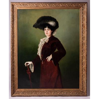 Large Oil On Canvas Painting, Full-length Portrait Of An Elegant (sarah Bernhardt?)