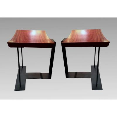 "Two End Of 20th Century ""t 1927"" Stools By Pierre Chareau, Edited By Ecart International"