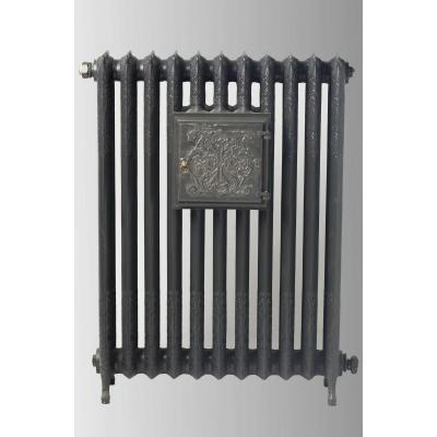 Radiator With Plate Warmer With Floral Decoration In Cast Iron