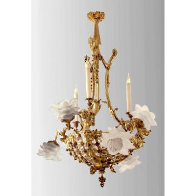Lxv Style Chandelier In Gilt Bronze, Late Nineteenth Century