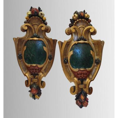 Pair Of Ornamental Medallions In Painted Wood