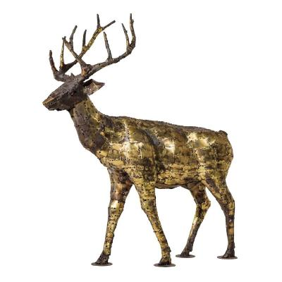 """deer"", Sculpture In Oxidized Brass By François Melin, 1970"