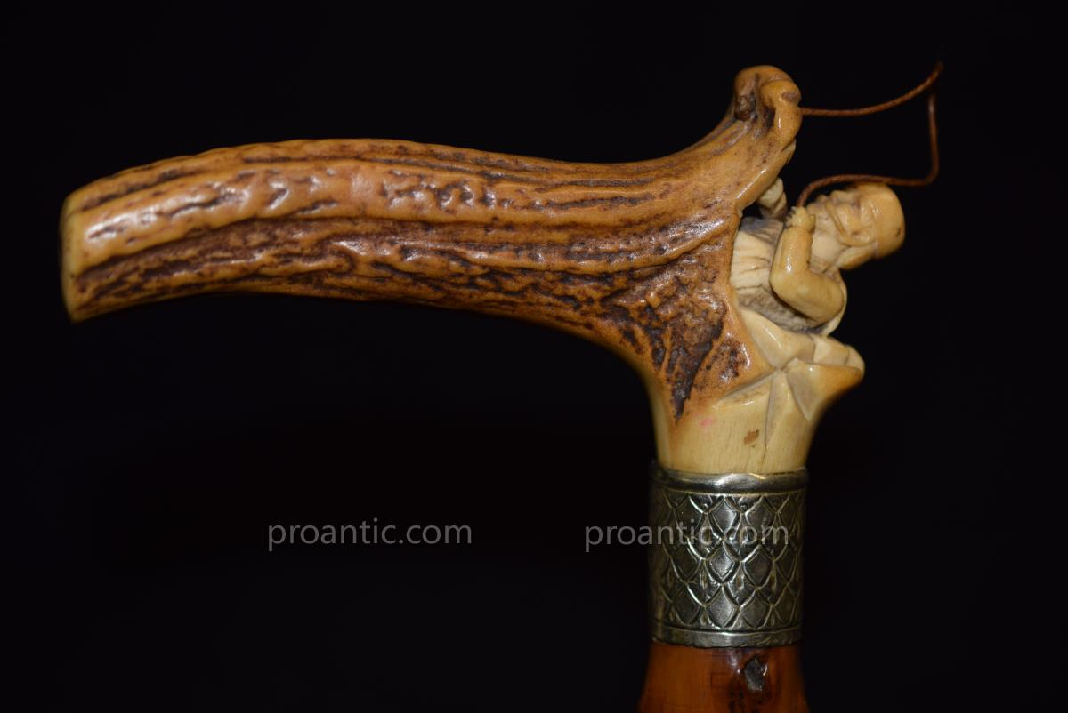 Ancient Cane From The 19th Century A Deer Horn Moujik