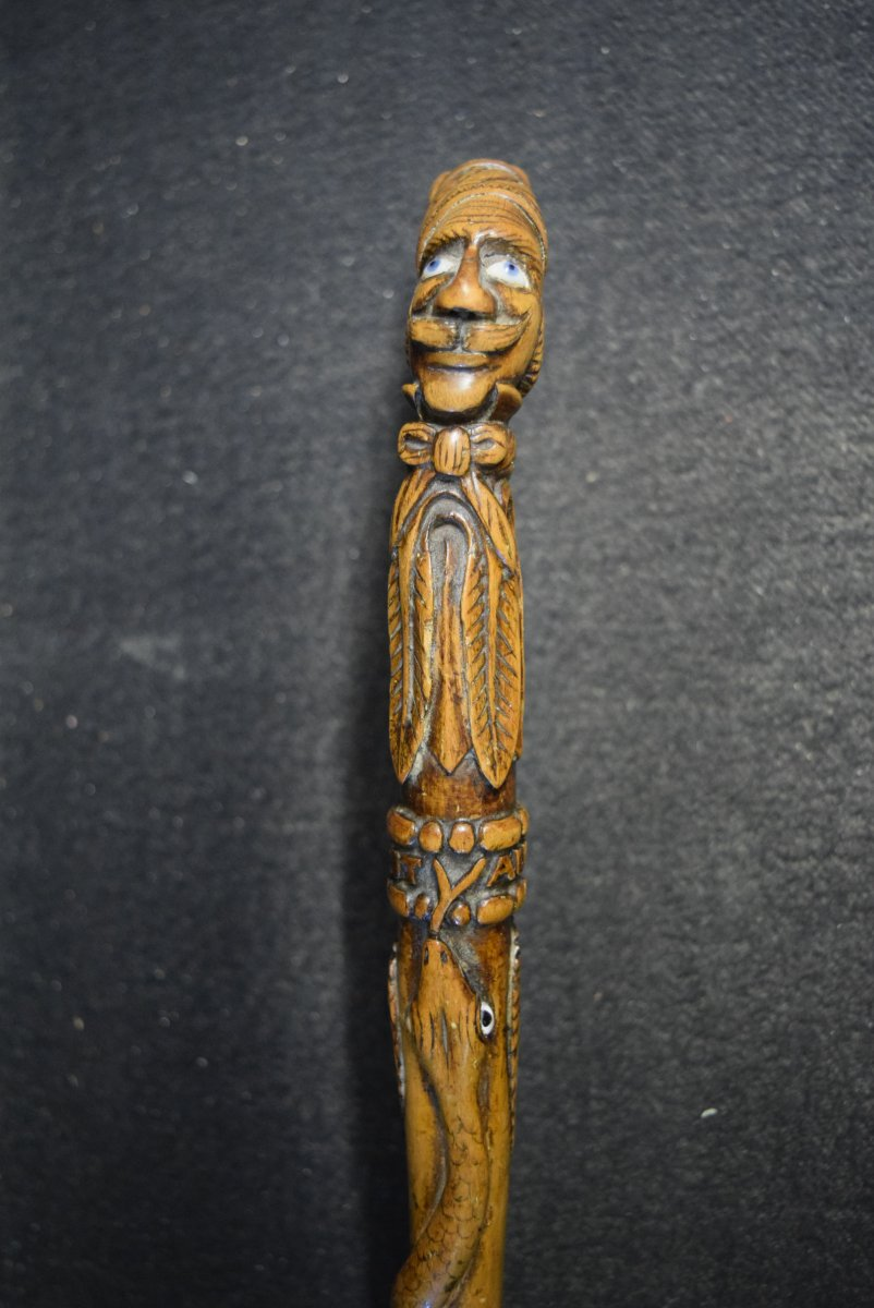 Ancient Folk Art Cane In Middle 19th Century Monoxyle