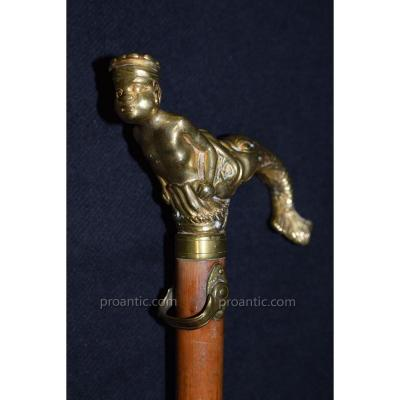 Ancient 18th Century Gilt Bronze Cane At The Mercury