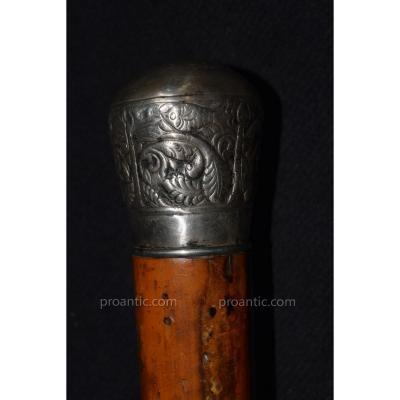 Cane Old Silver Knob End Nineteenth Century