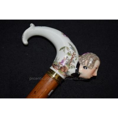 Ancient Cane With Pommel Porcelain Meissen Eighteenth