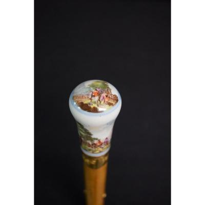 Ancient 18th Century Porcelain Cane From The Manufacture Of Meissen