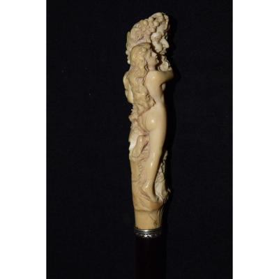 Antique Ivory Carved Cane From The 19th Century. Representative Bacchus