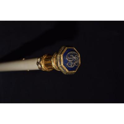 Ancient Cane From The Middle Of The 19th Century In Enameled 20 Carat Gold And Diamonds