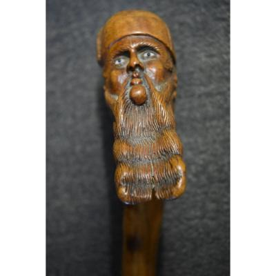 Ancient Folk Art Cane In Monoxyle Late 19th Century
