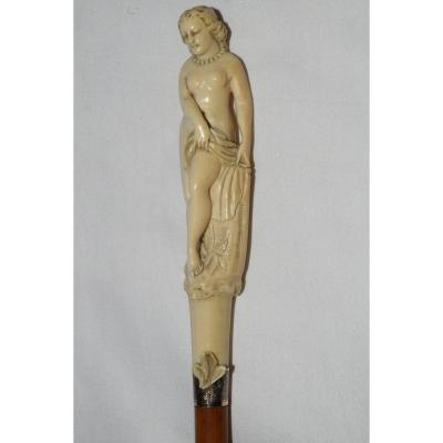 Old Cane In Carved Ivory From The 19th Century.