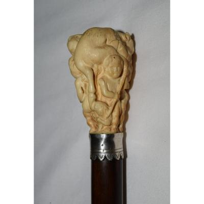 Old Cane In Carved Ivory From The Early 18th Century.