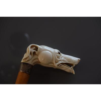 Old Carved Ivory Pommel Cane From The End Of The 19th Century.