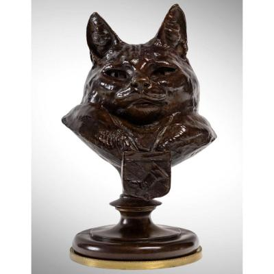 Bust Of Puss In Boots By Emmanuel Fremiet (1824 - 1910)