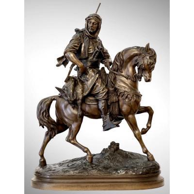 Cavalier Arabe En Retour De Chasse Par Alfred Barye (1839-1882) Et Emile Guillemin (1841-1907)