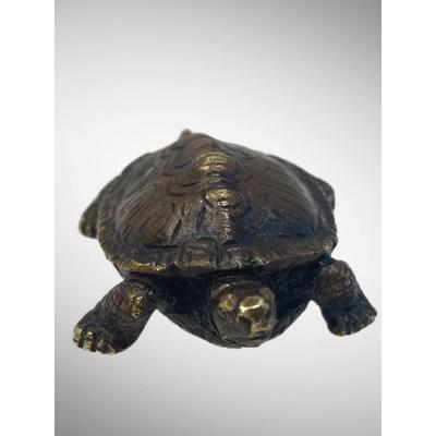 Bronze sculpture representing a turtle (version without terrace) by Antoine-Louis Barye<br /> Shaded brown patina<br /> Turtle stamped &quot;BARYE&quot; below, in the center<br /> Period XIX th century<br /> Very good state<br /> <br /> <em>Barye was probably inspired by a giant tortoise, with a length of 1.70 m, which stayed in 1839, for 3 weeks, at the National Museum of Natural History.</em><br /> <br /> Famous for his animal sculptures, Antoine-Louis Barye (1795-1875) is a silversmith&#39;s son, who is trained in metalwork with a military equipment manufacturer and Jacques- Henri Fauconnier.<br /> <br /> In 1818, he entered the Ecole des Beaux-Arts in Paris and apprenticed in the studio of sculptor Fran&ccedil;ois Joseph Bosio and painter Jean-Antoine Gros.<br /> After several failures at the Grand Prix de Rome, Barye slammed the door of the Fine Arts in 1825. He then turned to animal sculpture which he would bring back up to date. With his friend Delacroix, he goes regularly to the menagerie of the Natural History Museum to study and observe animals.<br /> <br /> It was in 1831 that Barye made himself known to the general public by exhibiting &quot;The Tiger Devouring a Gavial&quot; (Louvre) at the Salon, a work staging a violent fight &quot;of impressive virtuosity&quot;.<br /> Two years later, he triumphed with &quot;The Lion au Serpent&quot; plaster, which was also successfully exhibited in its bronze version at the Salon of 1836.<br /> Preferring bronze to marble considered too cold, the artist multiplied statuettes and small groups. animals that he melts and chisels himself.<br /> <br /> Barye died at the age of 80, leaving behind an important production of drawings, watercolors and paintings as well as sculptures, pieces of goldsmith&#39;s work.<br /> His works can be seen at the Louvre and Orsay museums.&nbsp;<br /> &nbsp;