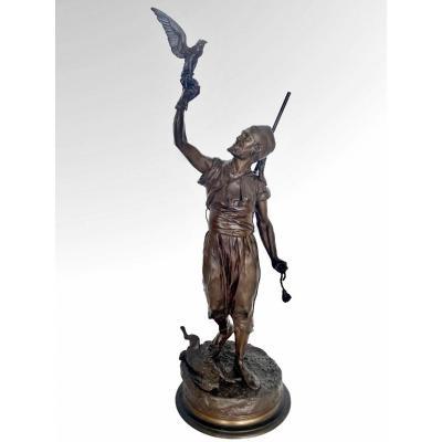 Le Fauconnier Arabe Par Pierre-jules Mène (1810-1879)