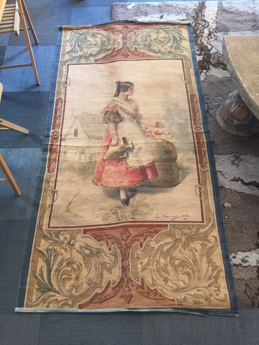 Luis Taberner 1889 Painted Canvas Spanish Tapestry Style With The Jug