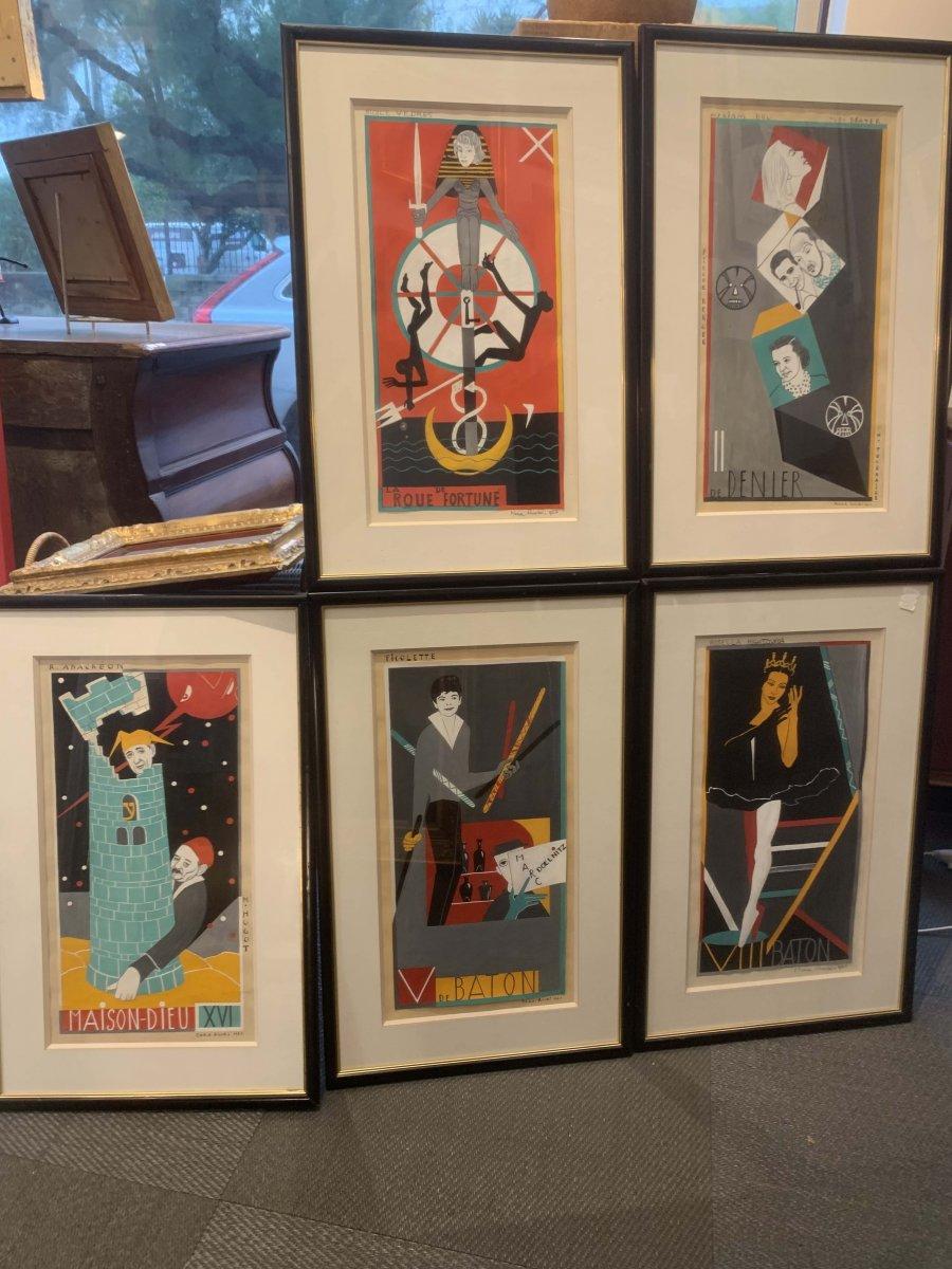 Mara Rucki 1953, 5 Original Gouaches For A Tarot Deck Dit De St Germain