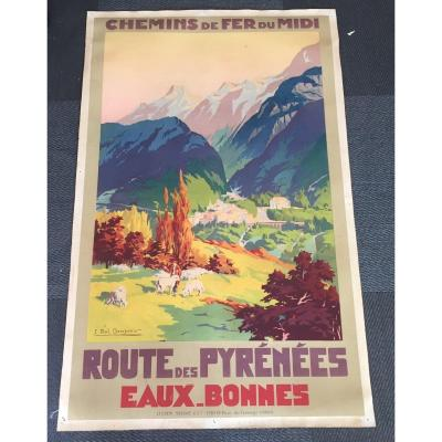 Poster Paul Champeix Railways Midi Good Waters Around 1935