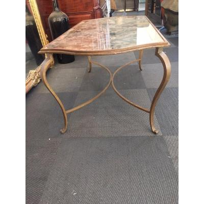 Golden Patinated Iron Coffee Table And Eglomised Glass Around 1940