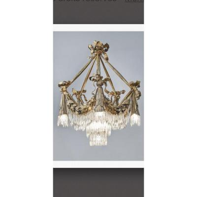 Chandelier End XIXth A Decor Of Drappés, Trimmings, Falls And Tassels