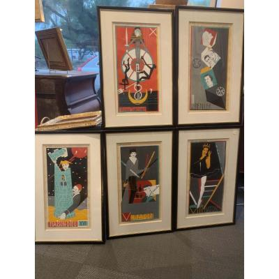 Mara Rucki 1953, 5 Original Gouaches For A Tarot Deck Dit De St Germain