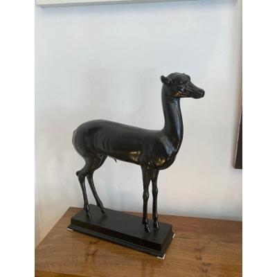 """Bronze """"young Deer"""" After The Antique Museum Of Naples Around 1930"""