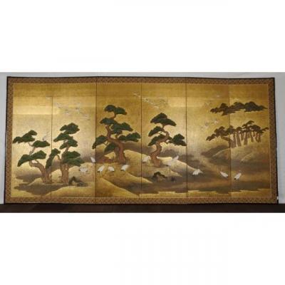 Byobu,paravent Japonais  Ecole De Kano Meiji