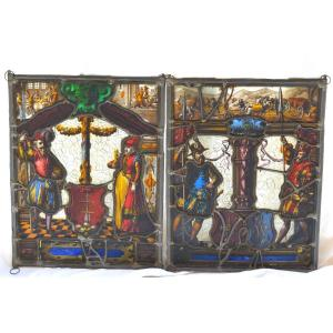 Pair Of Stained Glass 16th Century