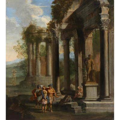 Deux Compositions Avec Ruines Antiques Et Personnages