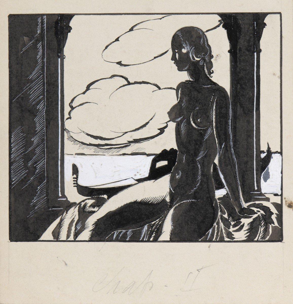 """""""Venise"""" Umberto Brunelleschi (1879-1949) Vers 1925 Projet pour un livre -photo-2"""