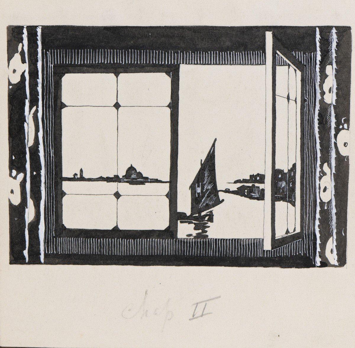 """""""Venise"""" Umberto Brunelleschi (1879-1949) Vers 1925 Projet pour un livre -photo-3"""