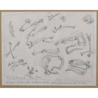 """""""La Cérémonie Du Feu"""" André Masson Circa 1950"""
