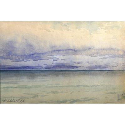Ernest Lessieux (1848-1925) Étude De Ciel Aquarelle