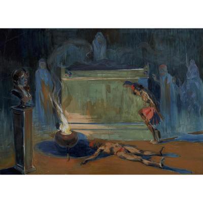Attribué à Alexandre Lunois (1863-1916) Scène Du Roman De La Momie Vers 1900 Gouache