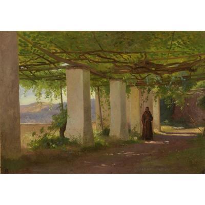 """""""Moine sous une pergola à Frascati"""" Frederik Niels Rohde (1816-1886) Circa 1840"""