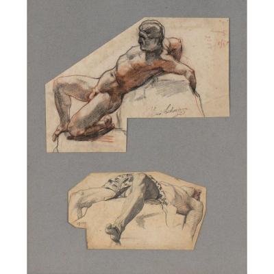"""""""Deux études d'homme"""" Henri Lehmann Vers 1854"""