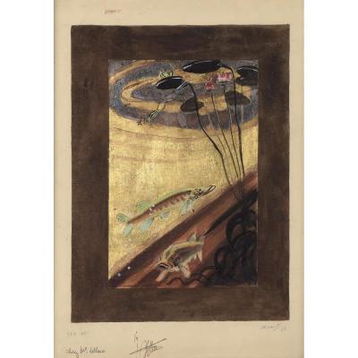 """""""Un étang""""  André Margat (1903-1999) Signé et daté 1938"""