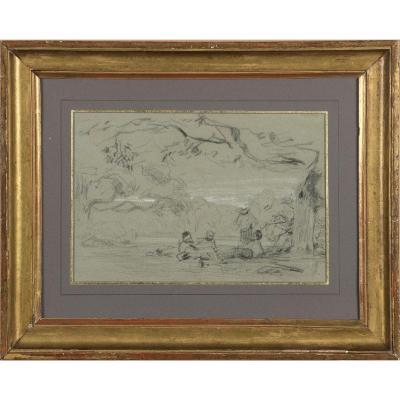 """Les amis peintres"" Théodore Caruelle d'Aligny (1798-1871) Crayon sur papier"