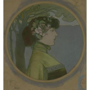 """""""Portrait de femme de profil"""" Edouard Saunier (1885-1918) Pastel et crayon sur papier Vers 1900"""